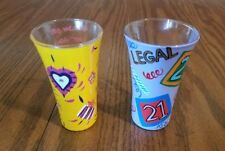 "Set of 2 LOLITA Collectible Handpainted Party Shots Birthday Girl ""21""Shot Glass"