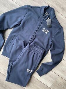 EMPORIO ARMANI EA7 NAVY BLUE TRACKSUIT SWEATSHIRT & PANTS 6ZPV51 - S - NEW &TAGS