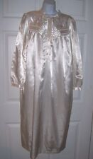 Women's Medium Long Sleep Gown Off White Victorian Style Embroidery Flowers