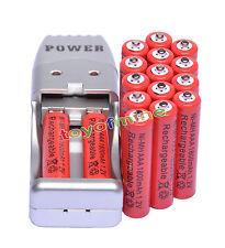 16X Batería recargable NiMH AAA 3A 1800mah 1.2V rojo color+ Cargador USB