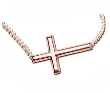 Sterling Silver Sideways Cross Necklace Adjustable Chain 925 Rose Gold Plated