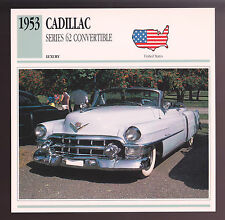 1953 Cadillac Series 62 Convertible Car Photo Spec Sheet Info Stat ATLAS CARD