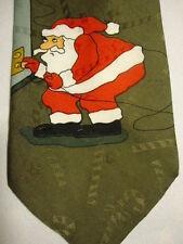 "SpecialTies Red Brown White Hallmark Christmas Santa Claus Happy Holidays 60.5"""