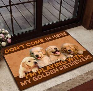 Golden Retriever Don't Come Here Welcome Doormat Indoor, Outdoor Housewarming