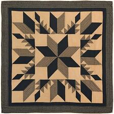 Dakota Star Twin Quilt Black Tan Hand Stitched Feathered Star Country Patchwork