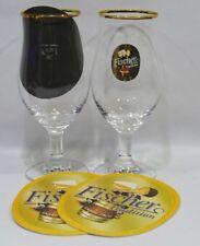 FISCHER Bière Tradition 2 verres à pied 25 cl logo ovale doré + 2 sous bocks