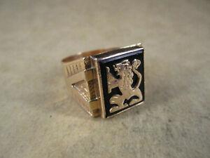 Antique Mens 14K Gold & Onyx Lion Ring, Hallmarked, Size 11.25, 9.4g
