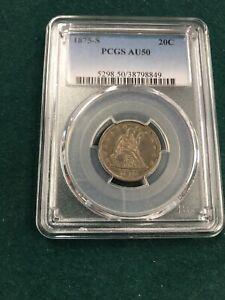 1875 S 20c PCGS AU50