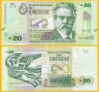 Uruguay 20 Pesos Uruguayos p-86 2015 (Serie G) UNC Banknote