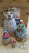 Enesco Jim Shore Set of 4 Nativity Nesting Boxes Angel Baby Jesus Mary Joseph