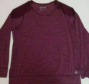 Reebok Fitness Maroon Purple Long Sleeve Netted Mesh Athletic Shirt Size XL