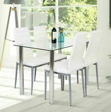 New 5 Piece Dining Table Set 4 Chairs White Glass Metal Kitchen Furniture