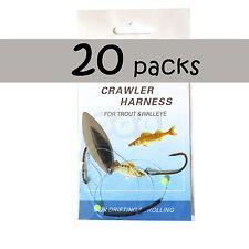 20pks Fishing Walleye Crawler Harness Walleye Spinner Rigs 2-hook Silver Chrome