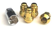 "4 Gold 1/2""-20 Lug Nuts Wheel Lock Acorn Cone Seat Key Fit Most Ford Jeep Dodge"