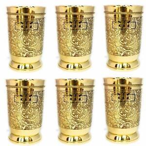 Gold Brass Handmade Glass Goblet Tumbler 250 ML Drinkware Set of 6 best gift