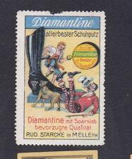 Ancienne vignette étiquette timbre Allemagne BN54725 Cirage Botte Chien Homme