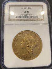 C13105- 1856-S GOLD $20 LIBERTY DOUBLE EAGLE NGC VF20