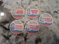 5 RARE DAIRY FARM CREAMERY USA PRESIDENT  MILK  BOTTLE CAP INSERT ROOSEVELT