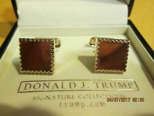 DONALD TRUMP CUFF LINK SET NEW IN BOX SILVER WITH GOLD TRIM
