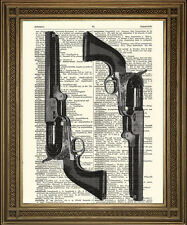 """ANTIQUE GUNS: Art Print on Vintage Dictionary Page, Shooting Gift (8 x 10"""")"""
