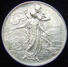 REGNO D'ITALIA VITTORIO EMANUELE III LIRE 2 1911 CINQUANTENARIO SPL-FDC (55940)