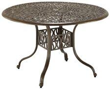 Patio Outdoor Round Dining Table Cast Aluminum Umbrella Hole Furniture Elegant