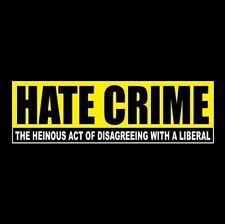 "Funny ""HATE CRIME"" Anti Liberal BUMPER STICKER Obama Hillary Democrat, GOP decal"