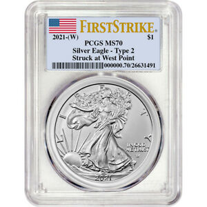 2021 (W) American Silver Eagle Type 2 - PCGS MS70 First Strike