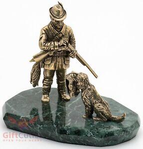 Bronze Figurine of Hunter with a dog on serpentine stone