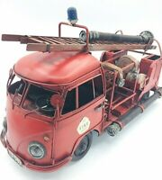 Tin fire truck Tinplate Fire engine Retro Vintage Antique Toys for adults F/S