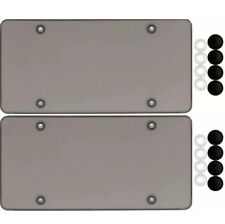2 SMOKE FLAT LICENSE PLATE COVER BUG SHIELD TINTED PLASTIC TAG PROTECTOR & CAPS