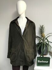 Barbour BEADNELL Ladies Waxed Wax Cotton Olive Jacket Coat Size UK 20 USA 16