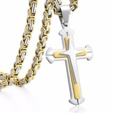 5mm Gold Silver Byzantine Box Mens Chain Stainless Steel Cross Pendant Necklace