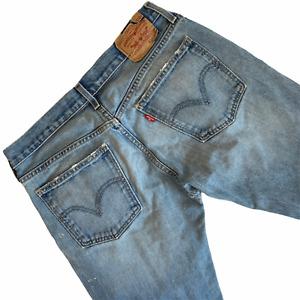 Levis Men 507 Jeans 33x30 Distressed Paint Splash Denim Hobo Chic Faded Med Wash