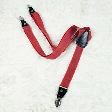 Vesuvio Napoli Italy Adjustable Red Glitter Suspenders Leather Alligator Clamps