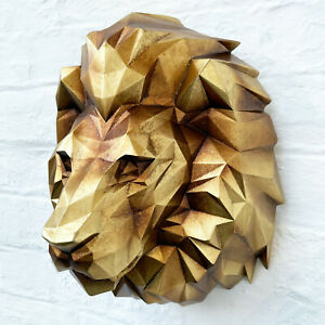 Geometric Gold Lion Head Wall Animal Bust Home Decorative Wall Statue Ornament A