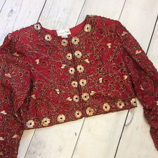 New listing Lawrence Kazer Womens Silk Beaded Jacket Size Large Red Black Gold