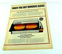"""Borden's Slices General Electric Reflector Toaster Lenten Print Ad 13.5""""x10"""" AK"""