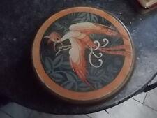 superbe boite en tole art deco dessin oiseau genre paons