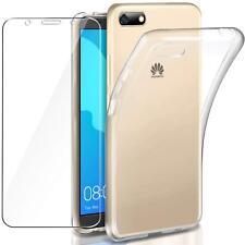 Pour Huawei Y5 2018 Coque gel Arrière en silicone - TRANSPARENT + 1 verre trempé