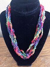 Handmade Crocheted Adjustable Ladder Ribbon Necklace - Rainbow Twinkle