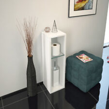 Bathroom Cloakroom 200mm Patello Storage Cabinet Unit White With Glass Shelves