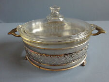 Vintage PYREX 023-623 Clear Glass 1 1/2 Qt Casserole Dish & Lid & Metal Caddy