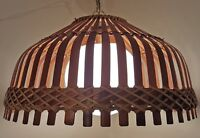 MID-CENTURY BAMBOO WICKER CEILING LIGHT FIXTURE VINTAGE 1970s RETRO TIKI