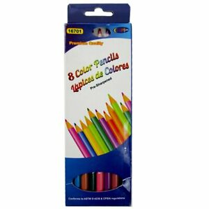 Coloring Pencils, 8 Count Per Box, sharpened, Case Pack of 80