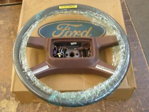 NOS OEM Ford 1988 1989 Lincoln Town Car Leather Wrapped Steering Wheel Brown