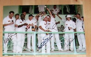 1990'S ENGLAND CRICKET X5 PERSONALLY HAND SIGNED 12X8 PHOTO AUTOGRAPH