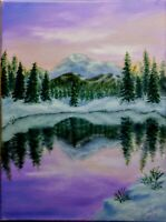 "Art16""/12""OIL HAND painting.mount Rainiernational Park Washington by l.livetskiy"