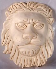 """7""""H X 5-3/4""""W, Hand Carved Solid Wood Lion Face Onlay  Applique Corbel OW417"""