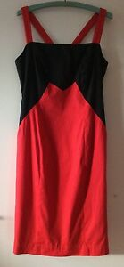 G2 by George Gross Two Tone Cocktail Dress Red/Black Geometric Brocade Size S 8